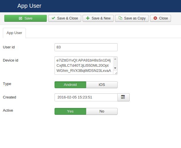 Push notification configuration