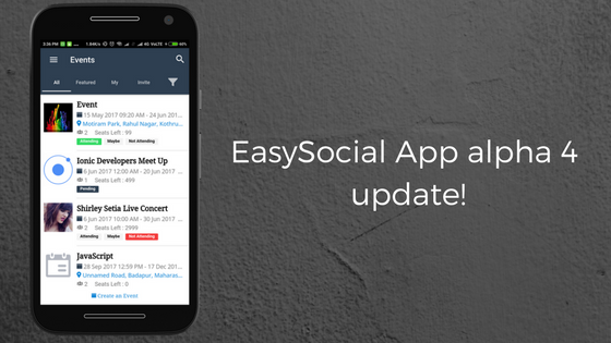 EasySocial App alpha 4 is here!